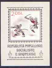 Albania 1977 National Costume Dances (1st series) perf x imperf m/sheet (Sabre Dance) unmounted mint, SG MS 1907