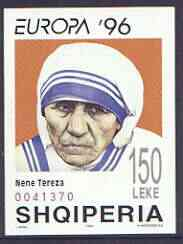 Albania 1996 Europa - Famous Women (Mother Teresa) imperf m/sheet unmounted mint, SG MS 2628