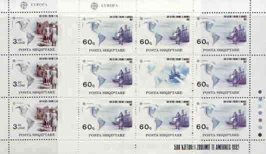 Albania 1992 Europa - 500th Anniversary of Discovery of America by Columbus perf set of 2 each in sheetlets of 8 plus label unmounted mint, SG 2535-36
