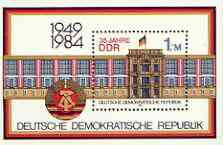 Germany - East 1984 35th Anniversary of Democratic Republic (1st issue) perf m/sheet unmounted mint, SG MS E2601, stamps on constitutions, stamps on buildings