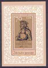 Germany - East 1988 500th Birth Anniversary of Ulrich von Hutten (humanist) perf m/sheet unmounted mint, SG MS E2851