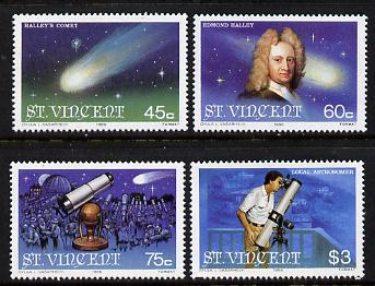 St Vincent 1986 Halley's Comet set of 4 unmounted mint SG 973-6, stamps on space, stamps on telescope, stamps on halley