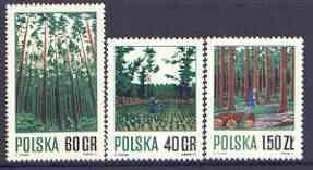 Poland 1971 Forestry Management perf set of 3 unmounted mint, SG 2047-49
