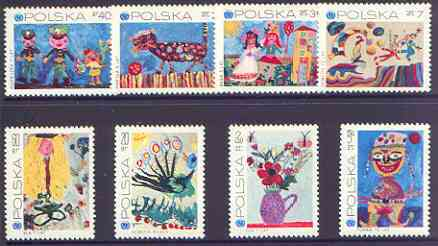 Poland 1971 25th Anniversary of UNESCO (Children's Paintings) perf set of 8 unmounted mint, SG 2060-67