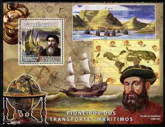 Guinea - Bissau 2008 Pioneers of Marine Transport perf souvenir sheet unmounted mint Michel BL 681, stamps on personalities, stamps on transport, stamps on ships, stamps on explorers