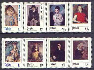 Poland 1974 Stamp Day - Paintings of Children in Polish Costumes perf set of 8 unmounted mint, SG 2325-32
