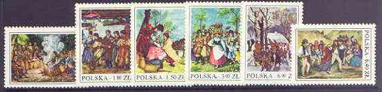 Poland 1977 Folk Customs - 19th Cent Wood Engravings perf set of 6 unmounted mint, SG 2496-2501