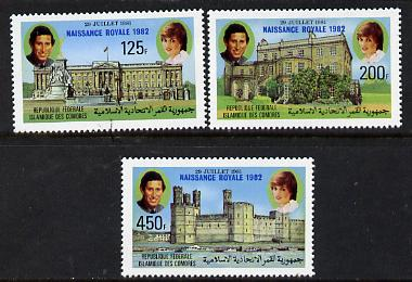 Comoro Islands 1982 Birth of Prince William opt on perf Royal Wedding set of 3 unmounted mint, SG 485-7