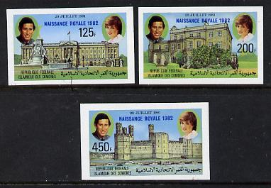 Comoro Islands 1982 Birth of Prince William opt on imperf Royal Wedding set of 3 unmounted mint, as SG 485-7
