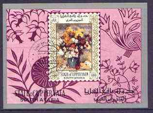 Aden - Upper Yafa 1967 Paintings of Flowers (Renoir) imperf m/sheet cto used used, Mi BL16