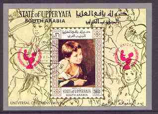 Aden - Upper Yafa 1967 UNICEF - Paintings of Children imperf m/sheet (Murillo) cto used used, Mi BL15