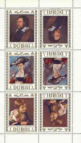 Dubai 1967 Paintings perf m/sheet containing the set of 3 each in tete-beche pairs unmounted mint, SG MS 256