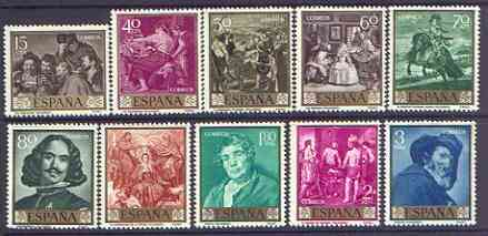 Spain 1959 Stamp Day & Vel�zquez Commemoration set of 10 unmounted mint, SG 1301-10