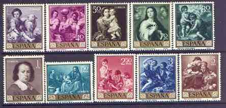 Spain 1960 Stamp Day & Murillo Commemoration set of 10 unmounted mint, SG 1333-42