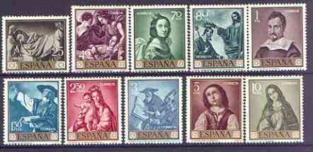 Spain 1962 Stamp Day & Zurbaran Commemoration set of 10 unmounted mint, SG 1479-88