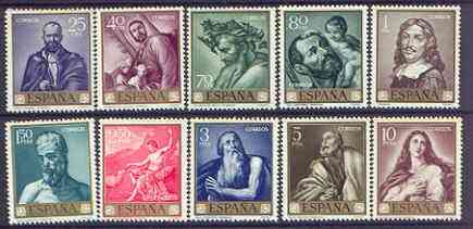 Spain 1963 Stamp Day & Ribera Commemoration set of 10 unmounted mint, SG 1559-68