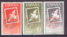 Spain 1961 World Stamp Day perf set of 3 unmounted mint, SG 1409-11