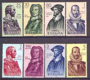 Spain 1961 Explorers of Americas (1st issue) perf set of 8 unmounted mint, SG 1435-42