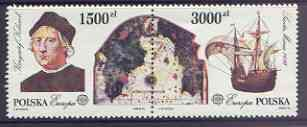 Poland 1992 Europa - 500th Anniversary of Discovery of America by Columbus set of 2 in se-tenant pair unmounted mint, SG 3403-4