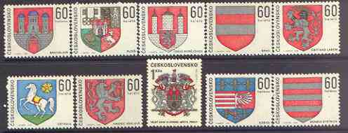 Czechoslovakia 1968 Arms of Regional Capitals (1st series) perf set of 10 unmounted mint, SG 1770-79