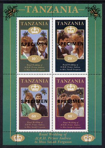 Tanzania 1986 Royal Wedding (Andrew & Fergie) the unissued perf sheetlet containing 10s, 20s, 60s & 80s values overprinted Specimen, unmounted mint