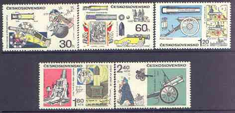 Czechoslovakia 1970 Historic Artillery perf set of 5 unmounted mint, SG 1895-99