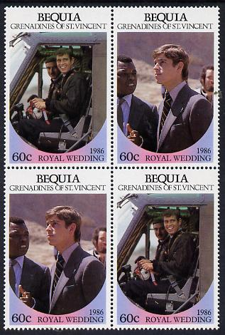 St Vincent - Bequia 1986 Royal Wedding 60c in unmounted mint block of 4 (2 se-tenant pairs)