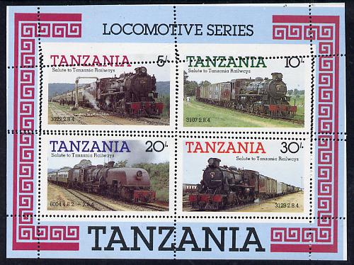 Tanzania 1985 Locomotives m/sheet with perforations dramatically misplaced and partly doubled unmounted mint (SG MS 434), stamps on railways, stamps on big locos