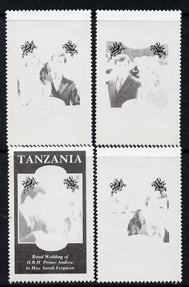 Tanzania 1986 Royal Wedding (Andrew & Fergie) the unissued perf set of 4 values (10s, 20s, 60s & 80s) in proof singles printed in black colour only unmounted mint, stamps on royalty, stamps on andrew, stamps on fergie, stamps on
