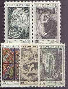 Czechoslovakia 1973 Birth Centenary of Max Svabinsky (artist) perf set of 5 unmounted mint, SG 2122-26
