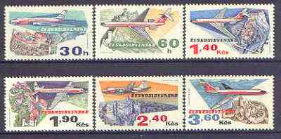Czechoslovakia 1973 50th Anniversary of Czech Airlines perf set of 6 unmounted mint SG 2128-33