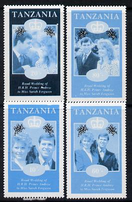 Tanzania 1986 Royal Wedding (Andrew & Fergie) the unissued perf set of 4 values (10s, 20s, 60s & 80s) in proof singles printed in blue & black colours only unmounted mint