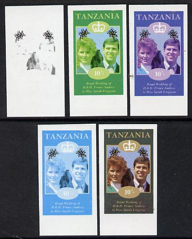 Tanzania 1986 Royal Wedding (Andrew & Fergie) the unissued 10s value in set of 5 imperf progressive colour proofs comprising single colour and various composites unmounted mint