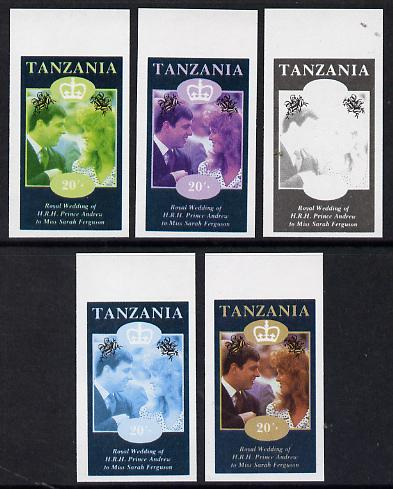 Tanzania 1986 Royal Wedding (Andrew & Fergie) the unissued 20s value in set of 5 imperf progressive colour proofs comprising single colour and various composites unmounted mint