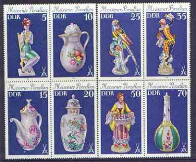 Germany - East 1979 Meissen Porcelain set of 8 in two se-tenant blocks of 4 unmounted mint, SG E2173-80
