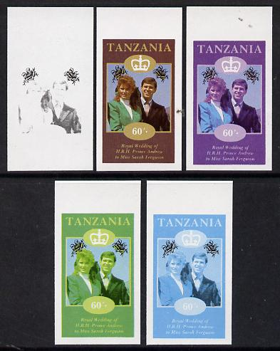 Tanzania 1986 Royal Wedding (Andrew & Fergie) the unissued 60s value in set of 5 imperf progressive colour proofs comprising single colour and various composites unmounted mint