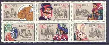 Germany - East 1982 Sorbian Folk Customs set of 6 in se-tenant block unmounted mint, SG E2424a