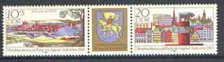 Germany - East 1982 National Youth Stamp Exhibition se-tenant pair plus label unmounted mint, SG E2430a