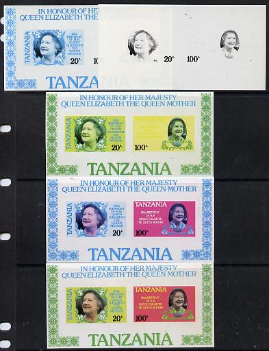 Tanzania 1985 Life & Times of HM Queen Mother m/sheet (containing SG 425 & 427) imperf set of 5 progressive colour proofs unmounted mint