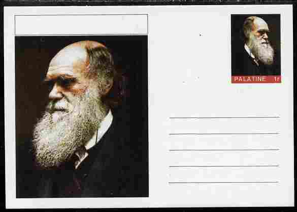 Palatine (Fantasy) Personalities - Charles Darwin postal stationery card unused and fine, stamps on personalities, stamps on science, stamps on animals, stamps on darwin