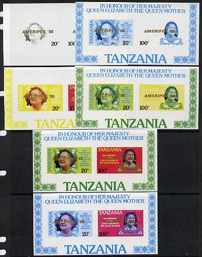 Tanzania 1986 Queen Mother m/sheet (containing SG 425 & 427 with 'AMERIPEX 86' opt in gold) set of 6 imperf progressive colour proofs unmounted mint