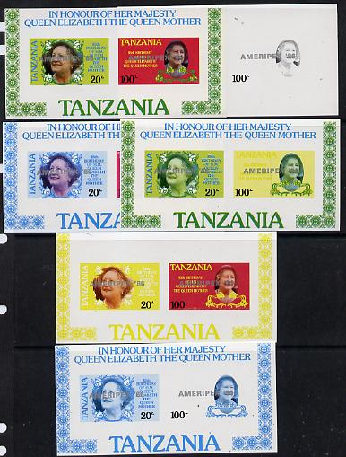Tanzania 1986 Queen Mother m/sheet (containing SG 425 & 427 with 'AMERIPEX 86' opt in silver) set of 6 imperf progressive colour proofs unmounted mint