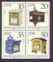 Germany - East 1985 Letter-Boxes perf set of 4 in se-tenant block unmounted mint, SG E2636-39