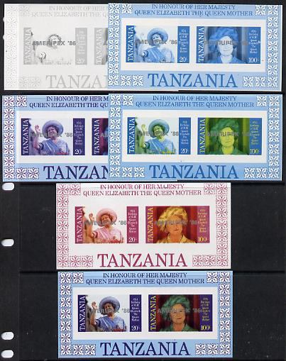 Tanzania 1986 Queen Mother m/sheet (containing SG 426 & 428 with 'AMERIPEX 86' opt in silver) set of 6 imperf progressive colour proofs unmounted mint