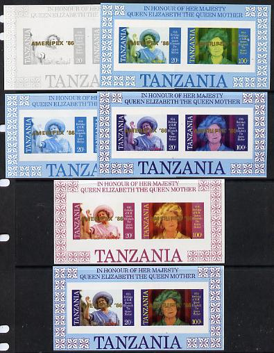 Tanzania 1986 Queen Mother m/sheet (containing SG 426 & 428 with 'AMERIPEX 86' opt in gold) set of 6 imperf progressive colour  unmounted mintproofs