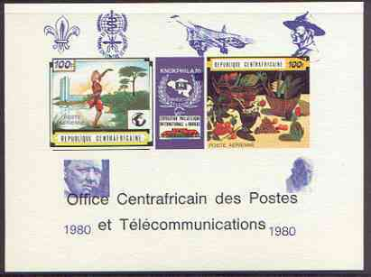 Central African Republic 1980 opt on 1970 'Knokphila 70' Stamp Exhibition 100f triptych deluxe proof card in full issued colours (as SG 223-4) opt'd in blue showing Scout & Malaria logos, Concorde, Baden Powell, Churchill & Pofpe