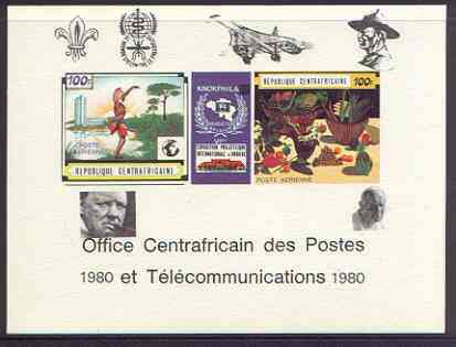 Central African Republic 1980 opt on 1970 'Knokphila 70' Stamp Exhibition 100f triptych deluxe proof card in full issued colours (as SG 223-4) opt'd in black showing Scout & Malaria logos, Concorde, Baden Powell, Churchill & Pope