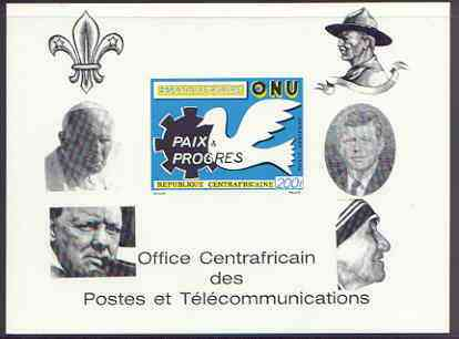 Central African Republic 1970 25th Anniversary of United Nations deluxe proof card in full issued colours (as SG 227) opt'd in black showing Scout logo, Baden Powell, Churchill, Pope, Kennedy & Mother Teresa