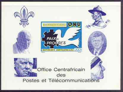 Central African Republic 1970 25th Anniversary of United Nations deluxe proof card in full issued colours (as SG 227) opt'd in blue showing Scout logo, Baden Powell, Churchill, Pope, Kennedy & Mother Teresa