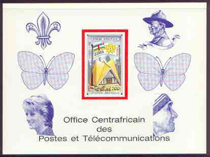 Central African Republic 1970 'EXPO 70' 200f deluxe proof card in full issued colours (as SG 226) opt'd in blue showing Scout logo, Baden Powell, Butterflies, Princess Di & Mother Teresa